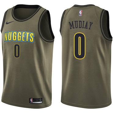 Nike Denver Nuggets #0 Emmanuel Mudiay Green Salute to Service NBA Swingman Jersey