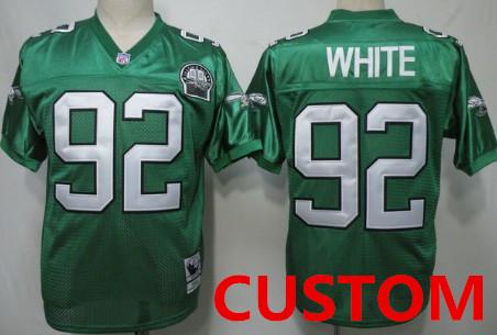 outlet store d9b96 4764f Custom Philadelphia Eagles Light Green Throwback 99TH Jersey ...