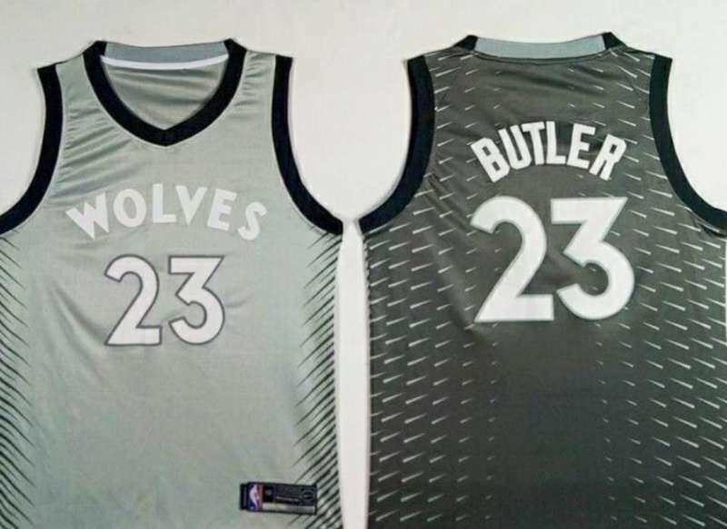 cheaper 8129e 63ae0 Nike Minnesota Timberwolves #23 Jimmy Butler Gray NBA ...