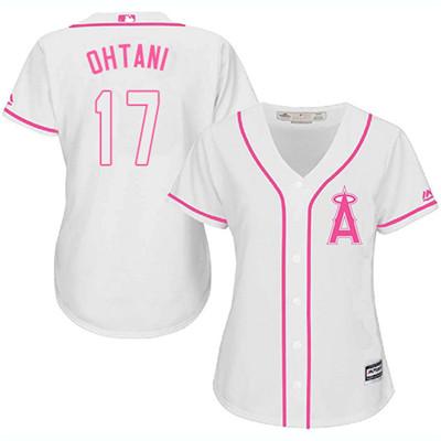 LA Angels of Anaheim #17 Shohei Ohtani White Pink Fashion Women's Stitched MLB Jersey