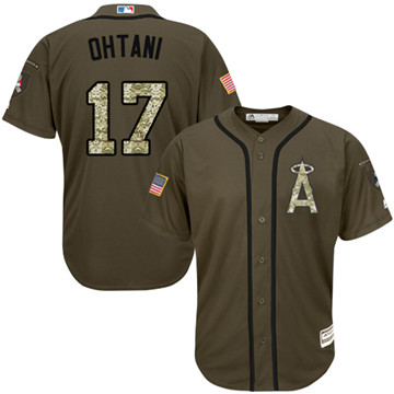 LA Angels of Anaheim #17 Shohei Ohtani Green Salute to Service Stitched MLB Jersey