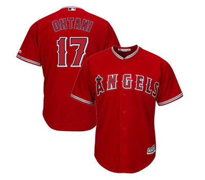 LA Angels #17 Shohei Ohtani Red Majestic MLB Men's Player Replica Cool Base Jersey