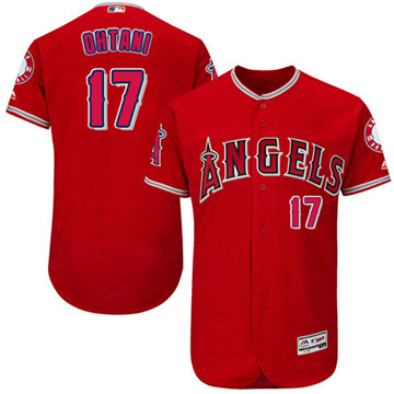 LA Angels of Anaheim #17 Shohei Ohtani Red Flexbase Authentic Collection Stitched MLB Jersey