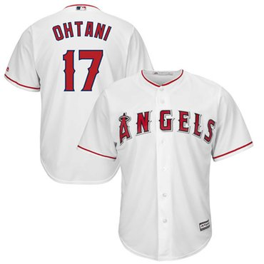 LA Angels #17 Shohei Ohtani Majestic MLB Men's Player Replica Cool Base Jersey