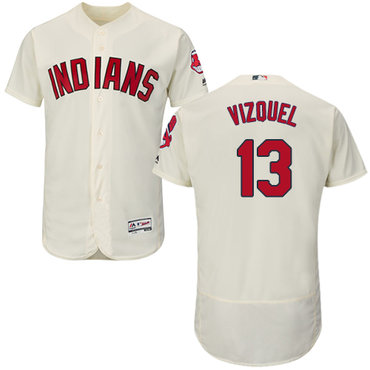 Cleveland Indians #13 Omar Vizquel Cream Flexbase Authentic Collection Stitched MLB Jersey