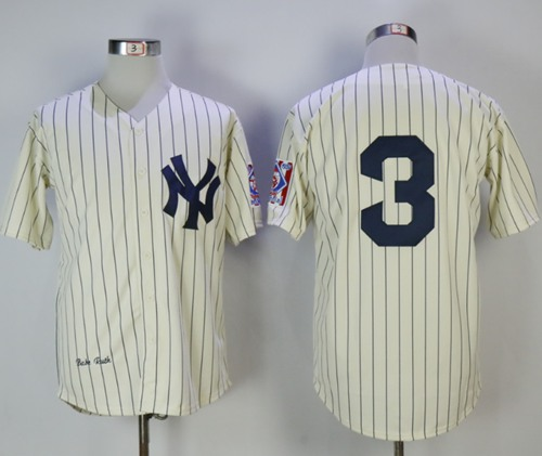 Mitchell And Ness New York Yankees #3 Babe Ruth Cream Throwback Stitched MLB Jersey