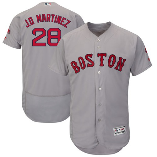Boston Red Sox #28 J. D. Martinez Grey Flexbase Authentic Collection Stitched MLB Jersey