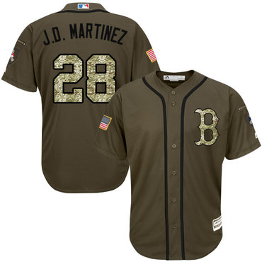 Boston Red Sox #28 J. D. Martinez Green Salute to Service Stitched MLB Jersey