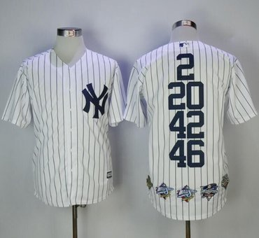 New York Yankees #2 #20 #42 #46 White Strip World Series Champions Stitched Jersey