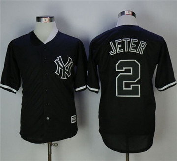 New York Yankees #2 Derek Jeter Black Fashion Stitched MLB Jersey