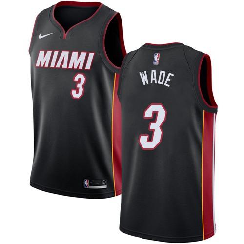 Nike Miami Heat #3 Dwyane Wade Black NBA Swingman Icon Edition Jersey