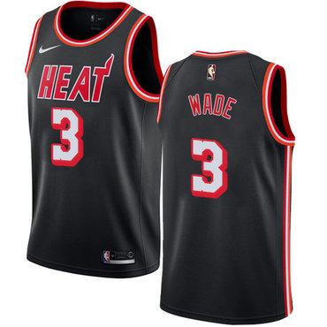 Nike Miami Heat #3 Dwyane Wade Black NBA Swingman Hardwood Classics Jersey