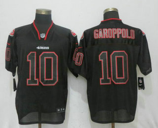 Men's San Francisco 49ers #10 Jimmy Garoppolo Lights Out Black Stitched NFL Nike Elite Jersey
