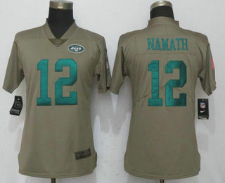 Women's New York Jets #12 Joe Namath Olive 2017 Salute To Service Stitched NFL Nike Limited Jersey