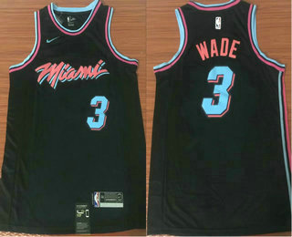 Men s Miami Heat  3 Dwyane Wade Black Nike NBA Swingman City Edition Jersey bc0e69520