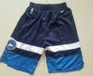 Men's Minnesota Timberwolves Navy Blue 2017-2018 Nike Swingman Stitched NBA Shorts