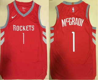 Men's Houston Rockets #1 Tracy McGrady New Red 2017-2018 Nike Authentic Printed NBA Jersey