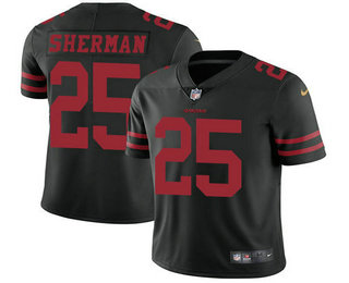 Youth San Francisco 49ers #25 Richard Sherman Black 2017 Vapor Untouchable Stitched NFL Nike Limited Jersey