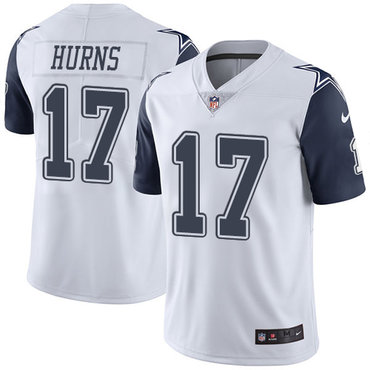 Men's Nike Dallas Cowboys #17 Allen Hurns White Stitched NFL Limited Rush Jersey