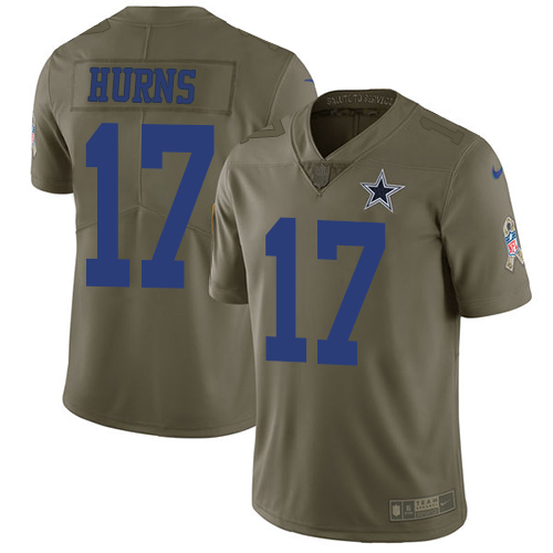 Men's Nike Dallas Cowboys #17 Allen Hurns Olive Stitched NFL Limited 2017 Salute To Service Jersey