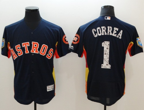 Men's Houston Astros #1 Carlos Correa Navy Blue 2018 Spring Training Authentic Flex Base Stitched MLB Jersey