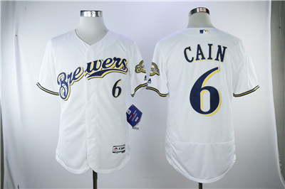 Men's Milwaukee Brewers #6 White Flexbase Authentic Collection Stitched MLB Jersey