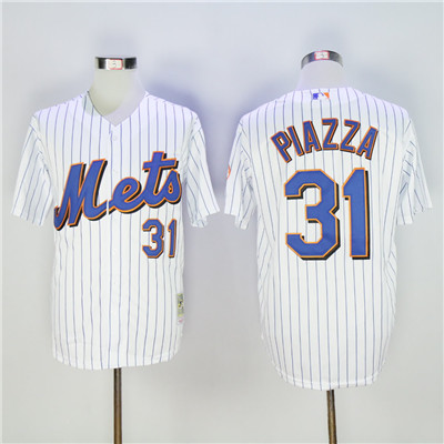 Men's New York Mets #31 Mike Piazza White(Blue Strip) Throwback Stitched MLB Jersey
