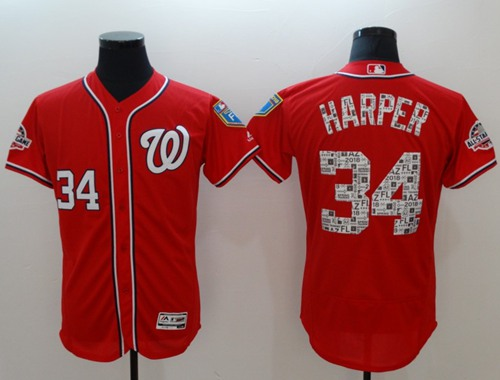 Men's Washington Nationals #34 Bryce Harper Red 2018 Spring Training Authentic Flex Base Stitched MLB Jersey