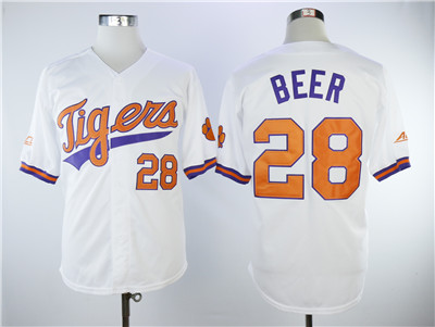 Men's Detroit Tigers #28 Seth Beer White College Baseball Jersey