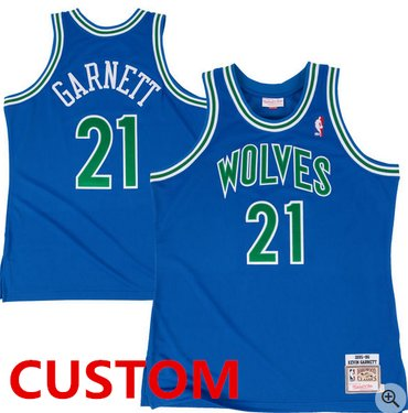 Custom Mitchell & Ness Minnesota Timberwolves Royal 199596 Hardwood Classic Authentic Jersey