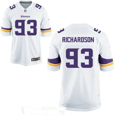 Men's Minnesota Vikings #93 Sheldon Richardson White Road Stitched NFL Nike Game Jersey