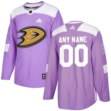 Men's Anaheim Ducks Purple Pink Custom Adidas Hockey Fights Cancer Practice Jersey