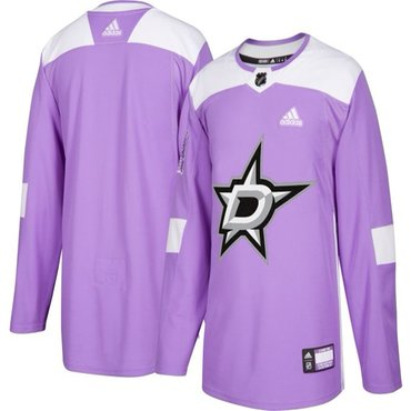 Men's Dallas Stars Purple Pink Custom Adidas Hockey Fights Cancer Practice Jersey