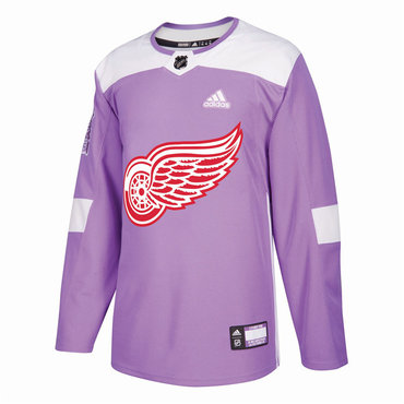 Men's Detroit Red Wings Purple Pink Custom Adidas Hockey Fights Cancer Practice Jersey