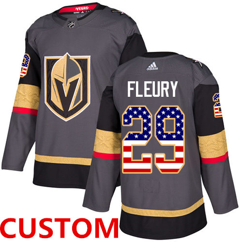 Custom Adidas Golden Knights Grey Home Authentic USA Flag Stitched NHL Jersey