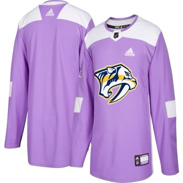 Men's Nashville Predators Purple Pink Custom Adidas Hockey Fights Cancer Practice Jersey
