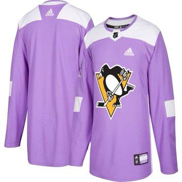new concept fe155 758f0 Men's Pittsburgh Penguins Purple Pink Custom Adidas Hockey ...