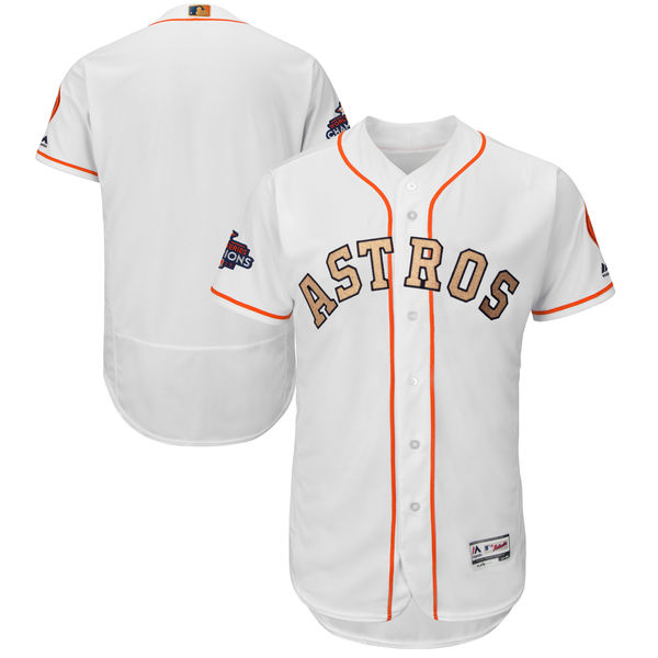 Men's Houston Astros Blank White 2018 Gold Program Flexbase Stitched MLB Jersey