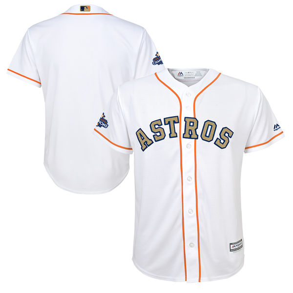 Men's Houston Astros Blank White 2018 Gold Program Cool Base Stitched MLB Jersey