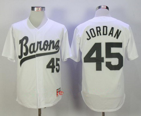 Size 4XL Men's Chicago White Sox Birmingham Barons #45 Michael Jordan White