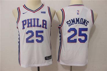 Nike 76ers 25 Ben Simmons White Youth Nike Swingman Jersey