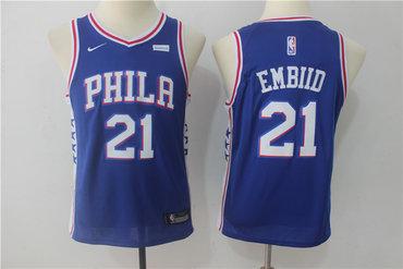 Nike 76ers 21 Joel Embiid Blue Youth Nike Swingman Jersey