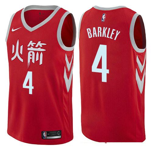 Houston Rockets #4 Charles Barkley Red Nike NBA Men's Stitched Swingman Jersey City Edition