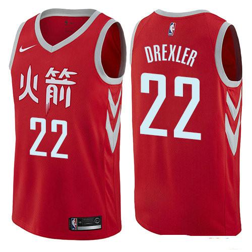 Houston Rockets #22 Clyde Drexler Red Nike NBA Men's Stitched Swingman Jersey City Edition