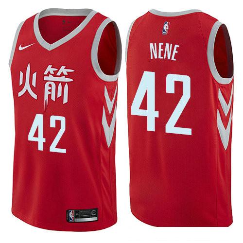 Houston Rockets #42 Nene Red Nike NBA Men's Stitched Swingman Jersey City Edition