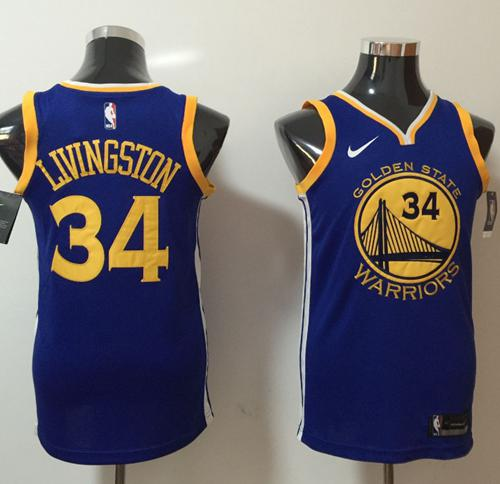 Nike Golden State Warriors #34 Shaun Livingston Blue NBA Swingman Icon Edition Jersey