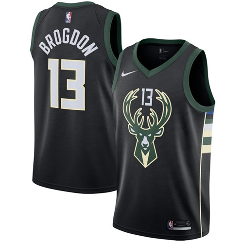 Nike Milwaukee Bucks #13 Malcolm Brogdon Black NBA Swingman Statement Edition Jersey
