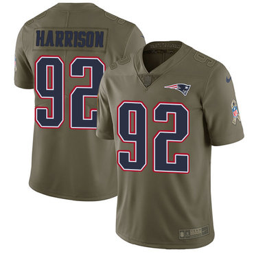 Nike New England Patriots #92 James Harrison Olive Youth Stitched NFL Limited 2017 Salute to Service Jersey