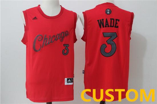 Custom Men's Chicago Bulls adidas Red 2016 Christmas Day Stitched NBA Swingman Jersey
