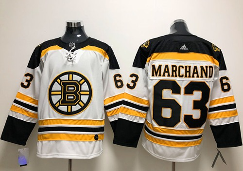 Adidas Boston Bruins #63 Brad Marchand White Road Authentic Stitched NHL Jersey